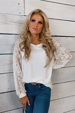 Wildest Dreams Lace Puff Sleeve Pullover Top : Ivory