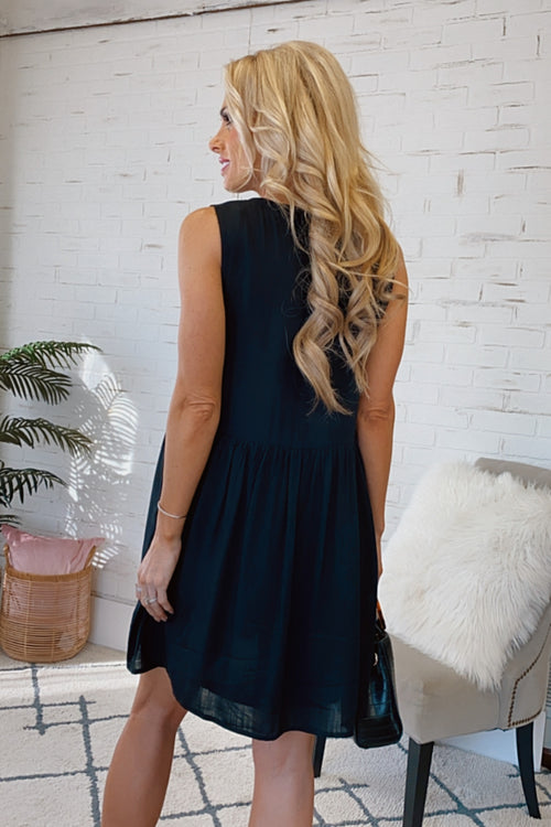 Path To Perfection V-Neck Babydoll Dress : Black