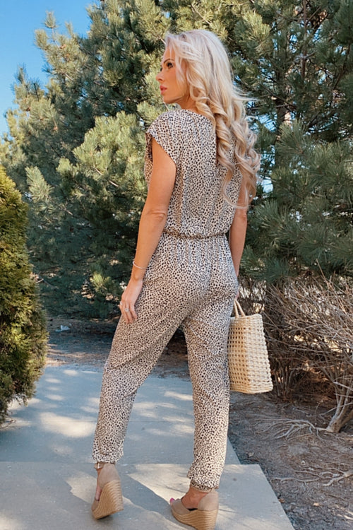 Endless Daydreams Leopard Short Sleeve Jumpsuit : Tan/Black