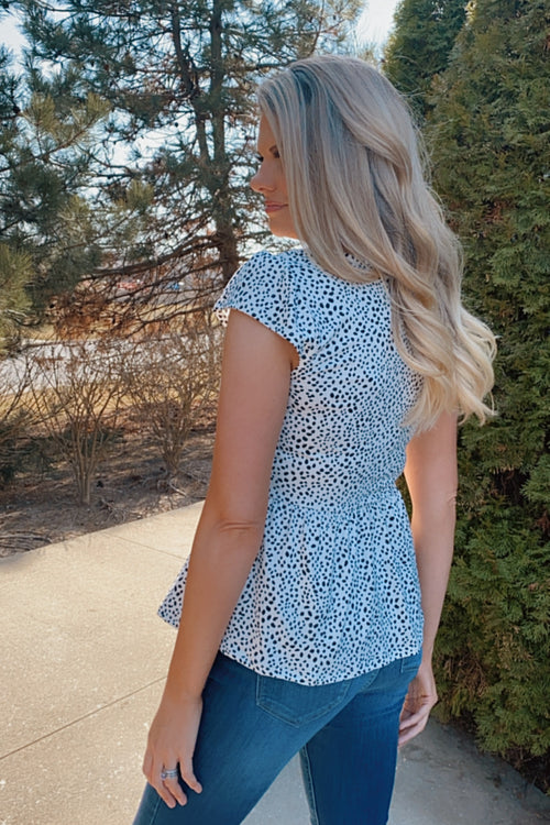 Extra Grateful Leopard Peplum V-Neck Top : Black/White