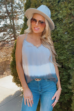 Happy Hour Frayed Hem Tie Dye Tank : Washed Charcoal