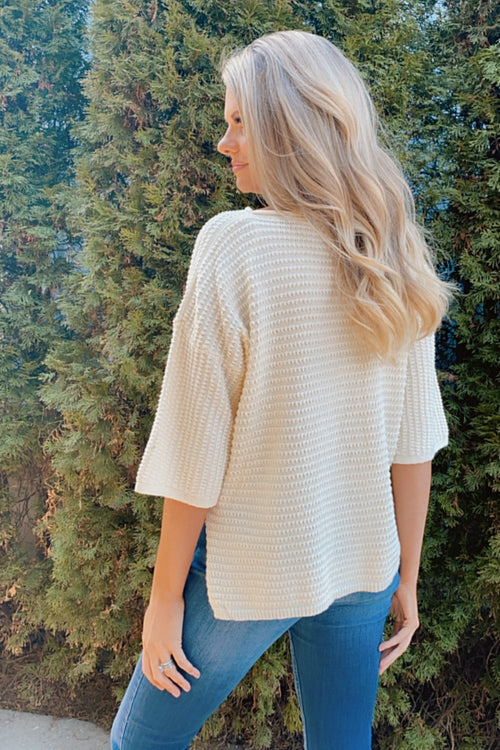 Clever Mind Knit 3/4 Sleeve Top : Cream
