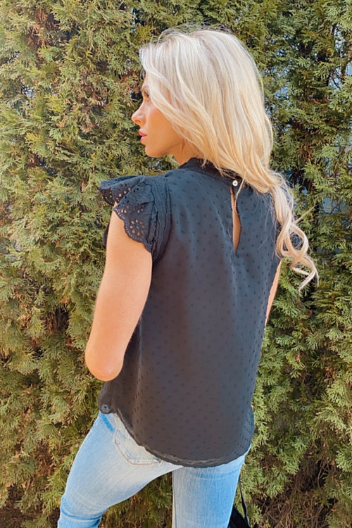 Joyful Heart Lace Hem Flutter Tank : Black