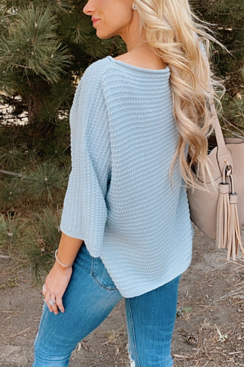 Clever Mind Knit 3/4 Sleeve Top : Dusty Blue