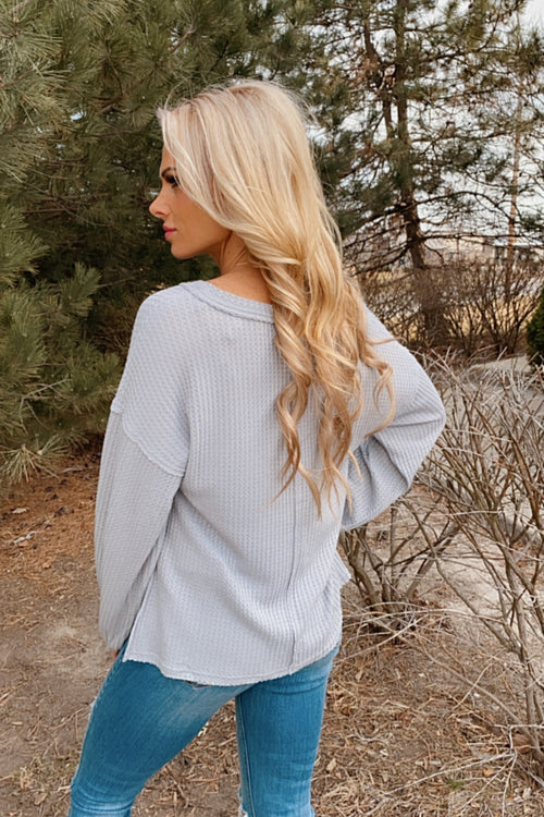 Your Dream Girl Waffle Knit V-Neck Top : Grey