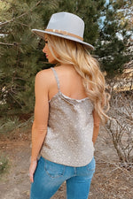 One In A Million Leopard Satin Tank : Grey