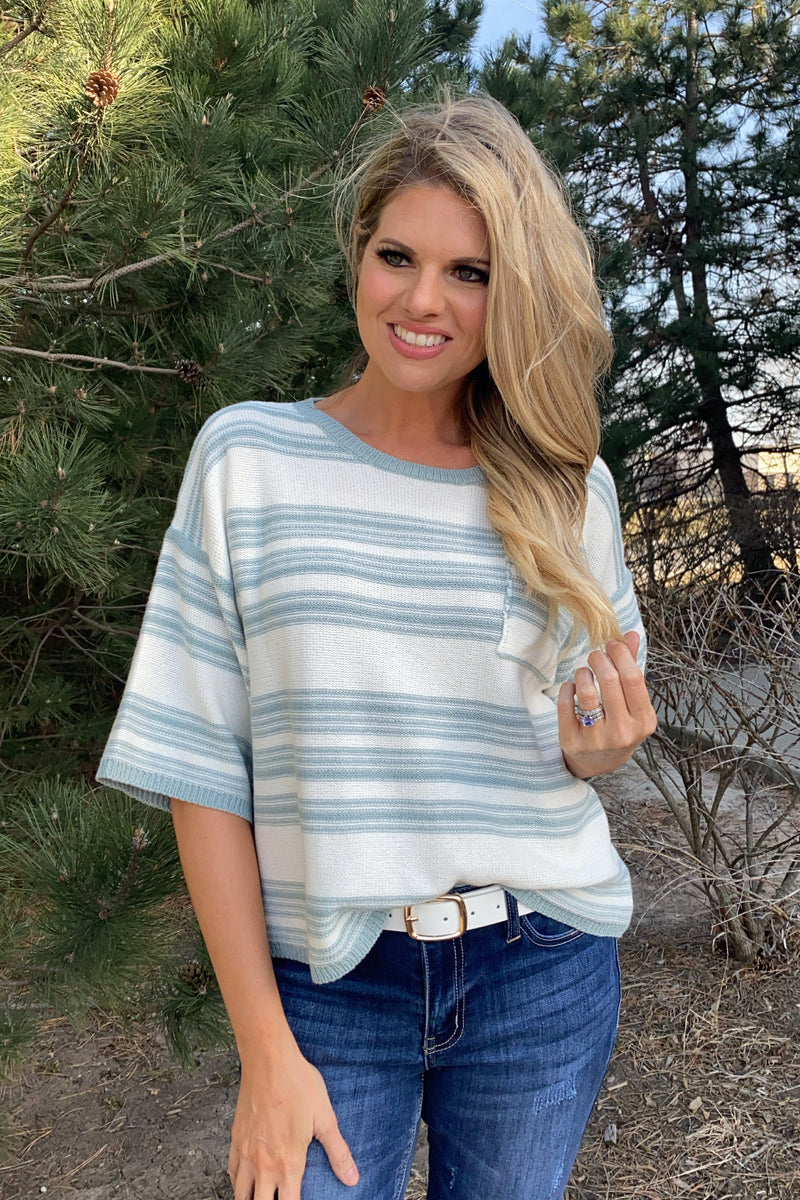 Favorite Of All Striped Short Sleeve Knit Top : Dusty Blue/Ivory