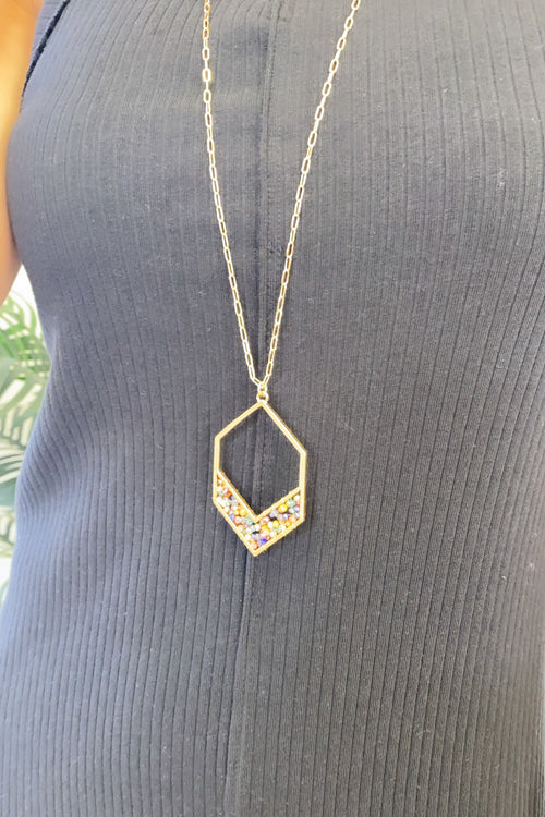 Britta Multi Crystal Hexagon Chain Necklace : Gold
