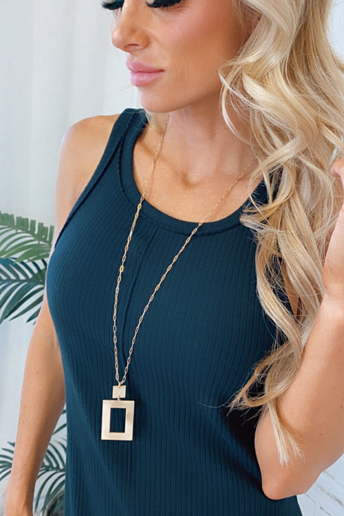 Catalina Metal Square With Gold Chain Necklace : Matte Gold