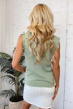 Summer Classic Ribbed Ruffle Sleeveless Top : Sage