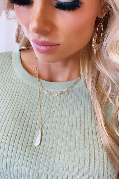 Asher Natural Teardrop And Gold Chain Layered Necklace : White