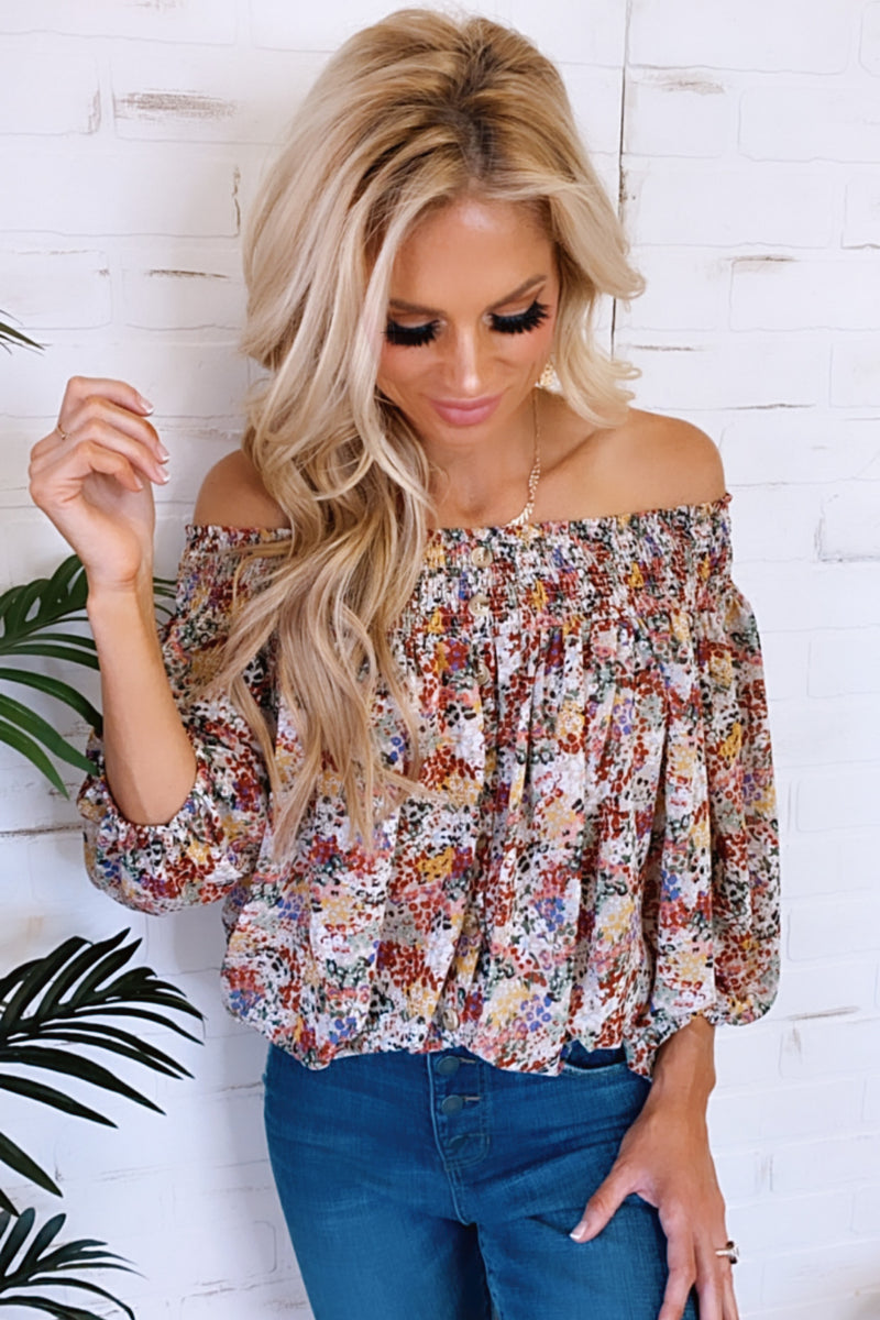 Watch You Go Floral OTS Button Down Top : Taupe/Mix