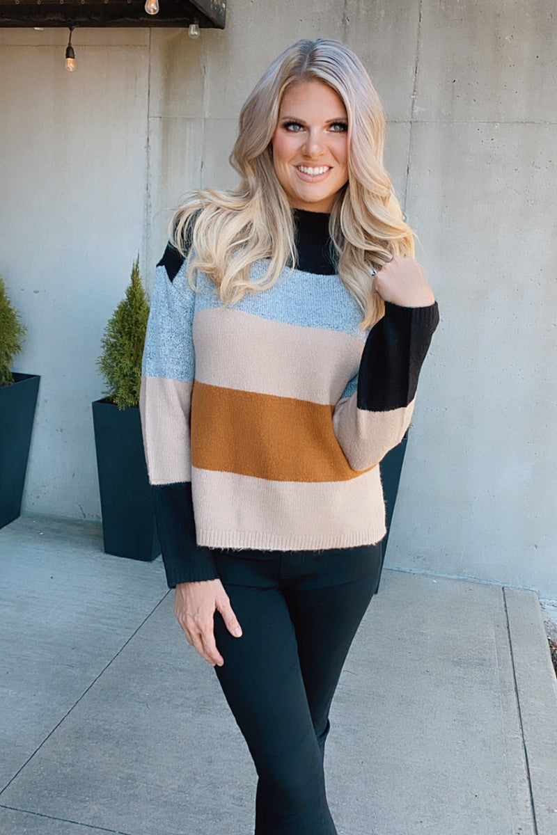 Wish You Well Colorblock Sweater : Black/Grey/Taupe