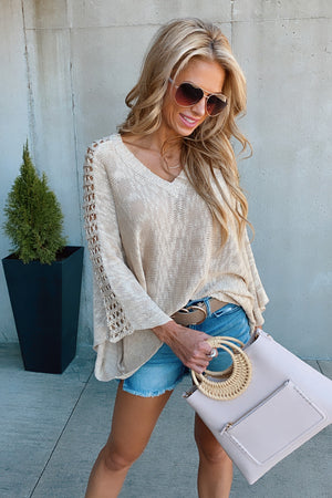A Way With Words Open Sleeve Knit Sweater : Oatmeal