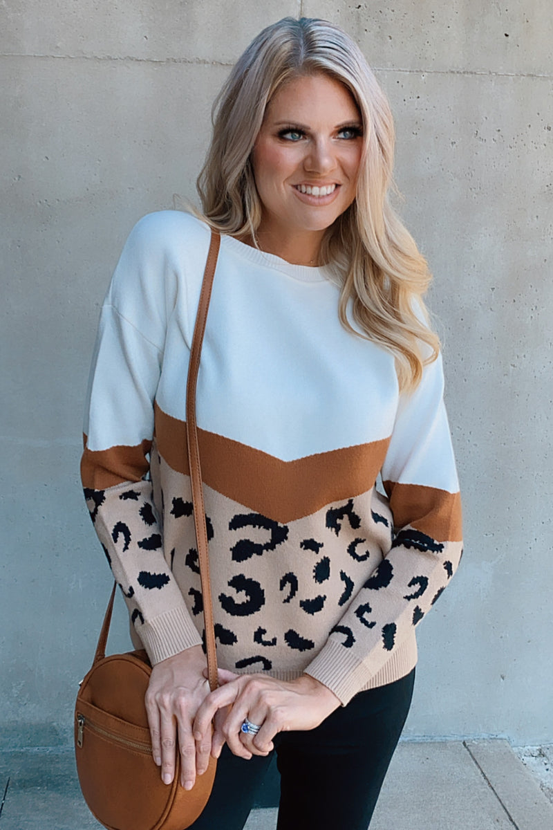 Chasing You Leopard Print Sweater : Ivory/Brown