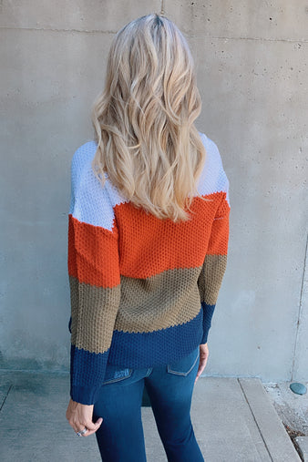 Fall Is Coming Stripe Sweater : Burnt Orange/Multi