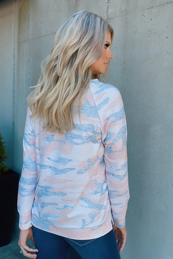 Faded Glory Camo Long Sleeve Top : Light Pink
