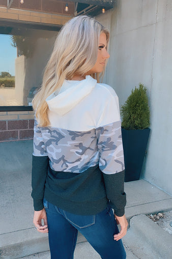 Can't Hide This Camo Pullover : Charcoal/Camo