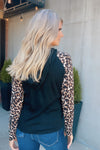 Don't Forget About Me Leopard Sleeve Top : Black