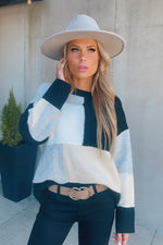 Love At First Sight Colorblock Sweater : Black