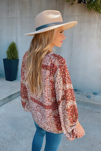 Love In Autumn Printed Blouse : Marsala