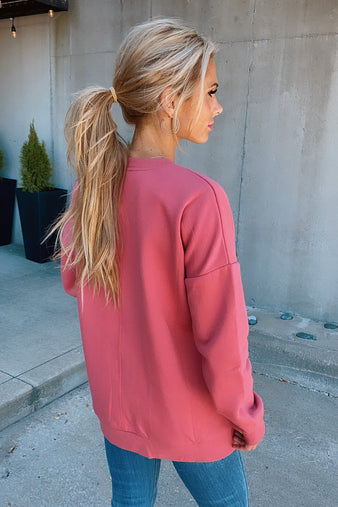 Cozy Weekend Oversize Pullover : Rose