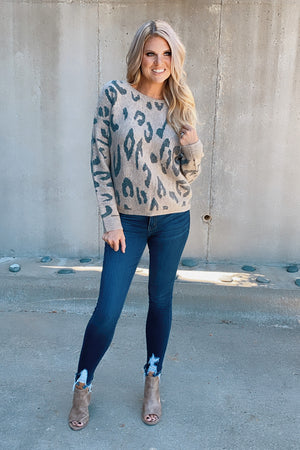 Weekend With You Leopard Dolman Sweater : Brown