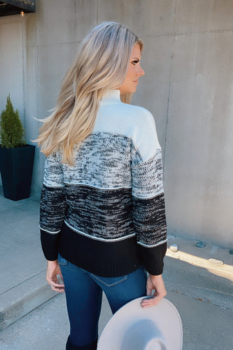 Easy Days Ahead Stitched Sweater : Black/Ivory