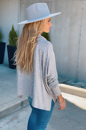 Chill With Me Cowl Neck Poncho Style Top : Grey