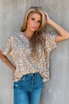 Weekend Vibes Leopard V-Neck Top : Latte & Sand