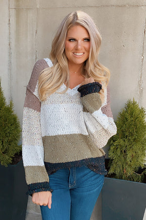 Never Forget You Colorblock Sweater : White Tone/Multi