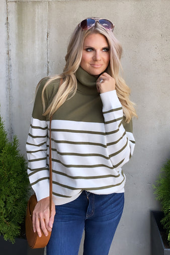 Fall's Embrace Striped Sweater : Olive/Ivory