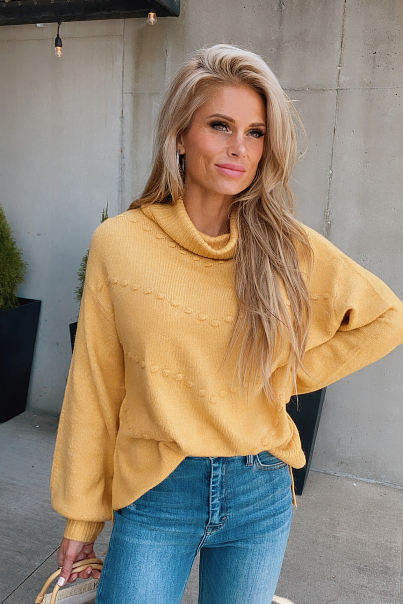 Fireside Feelings Cowl Neck Sweater : Mustard