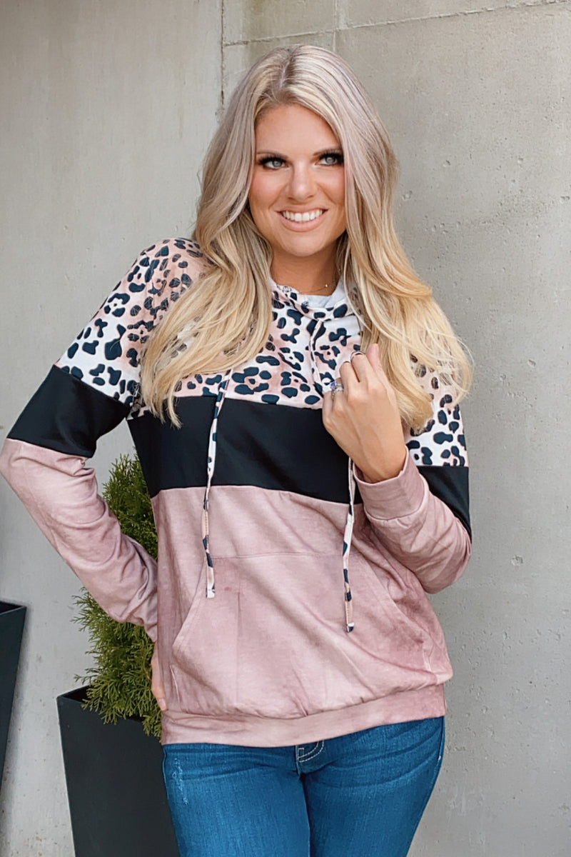 The Good Life Leopard Print Pullover : Black/Dusty Rose