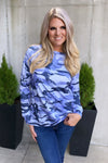 Faded Glory Camo Long Sleeve Top : Blue