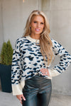 Chasing You Everywhere Leopard Sweater : Cream/Black/Blue