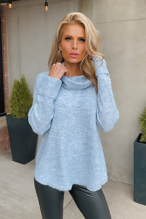 Modern Light Cowl Neck Sweater : Pastel Blue