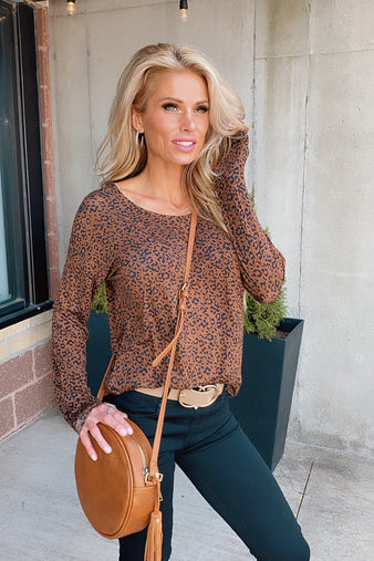 Brand New Day Leopard Long Sleeve Top : Brown