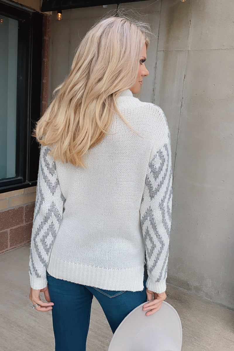 Thinking Of You Cowl Neck Sweater : Ivory/H. Grey