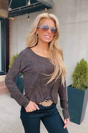 Brand New Day Leopard Long Sleeve Top : Black