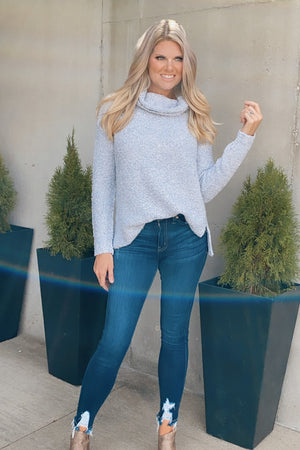 Date Night Cowl Neck Sweater : Heathered Grey