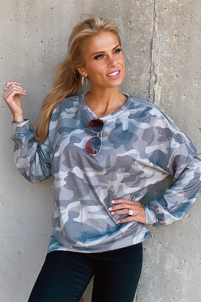 In A Hurry Camo Pullover : Grey