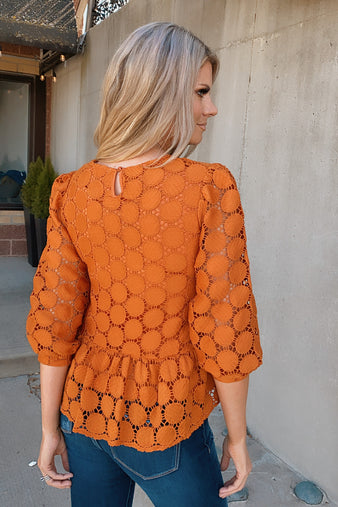 Circle Me Lace Babydoll Top : Orange