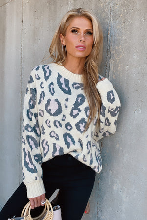 Say Whatever Leopard Print Sweater : Stone/Charcoal