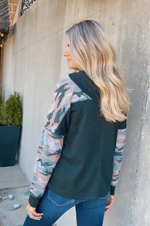 The Chances Are Camo Trimmed Cowl Neck Top : Charcoal