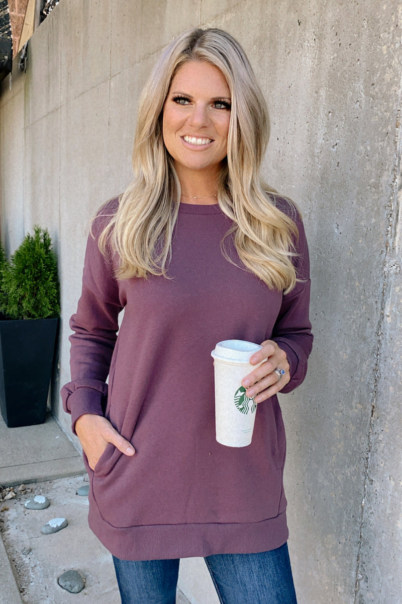 Cozy Weekend Oversize Pullover : Eggplant
