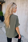 Girls Night Out V-Neck Top : Olive