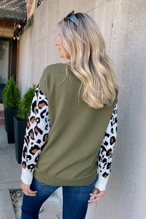 Getting Wild Leopard Sleeve Sweater : Olive