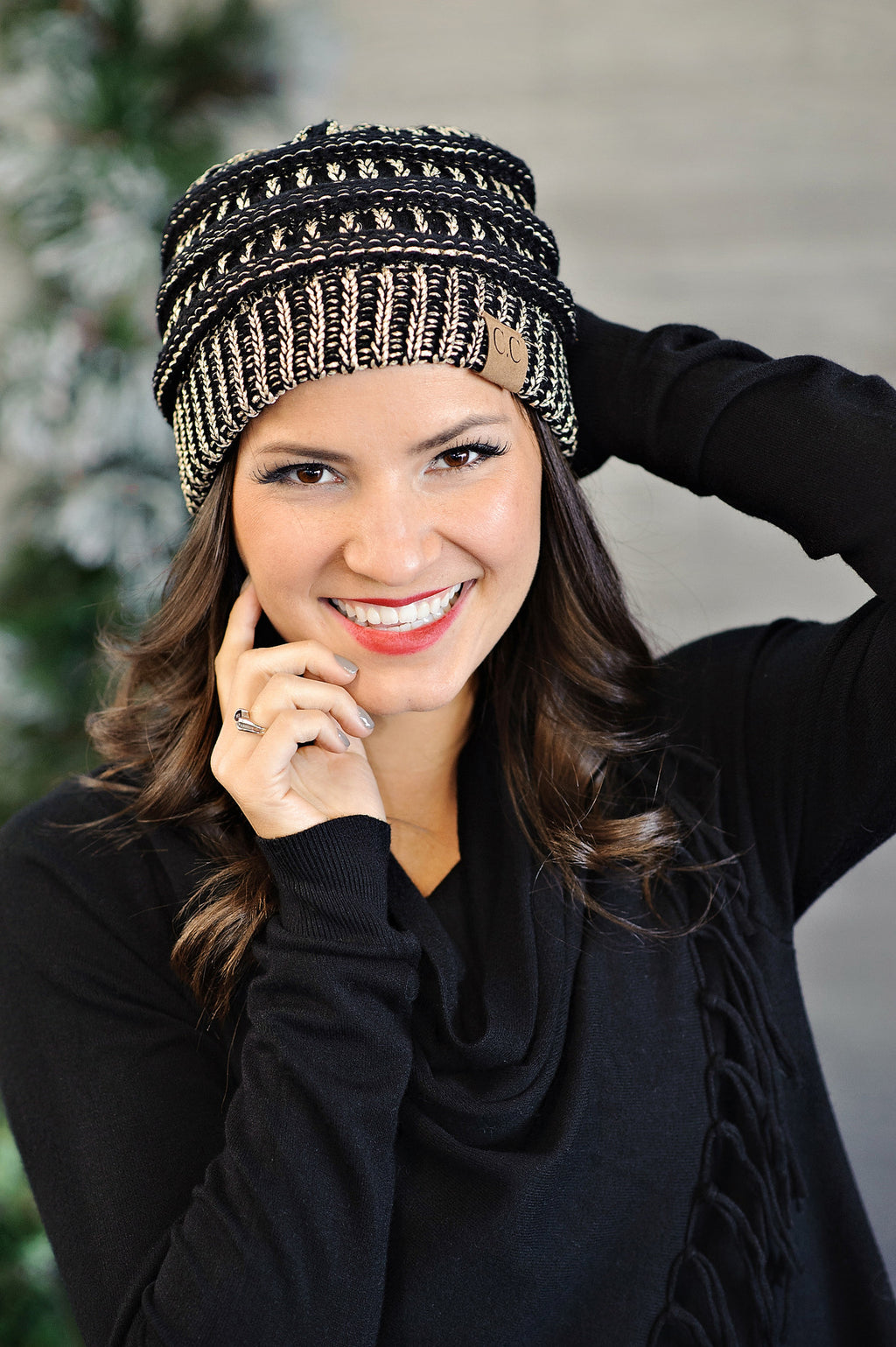 * CC Beanie : Black Gold Metallic