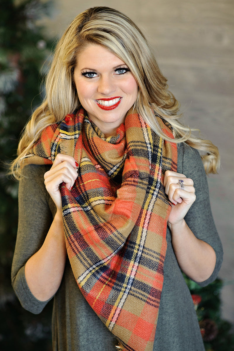 * Blanket Scarf: Orange, Navy, tan